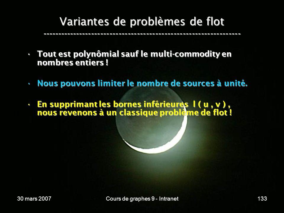 30 mars 2007Cours de graphes 9 - Intranet133 Variantes de problèmes de flot ----------------------------------------------------------------- Tout est