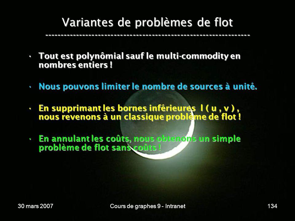 30 mars 2007Cours de graphes 9 - Intranet134 Variantes de problèmes de flot ----------------------------------------------------------------- Tout est