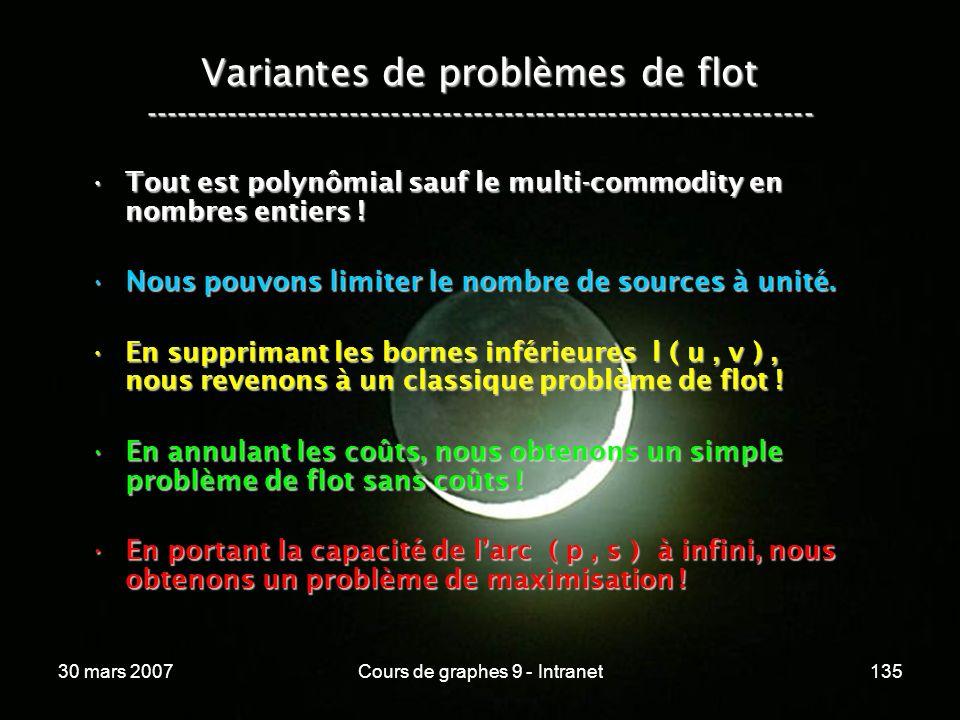 30 mars 2007Cours de graphes 9 - Intranet135 Variantes de problèmes de flot ----------------------------------------------------------------- Tout est