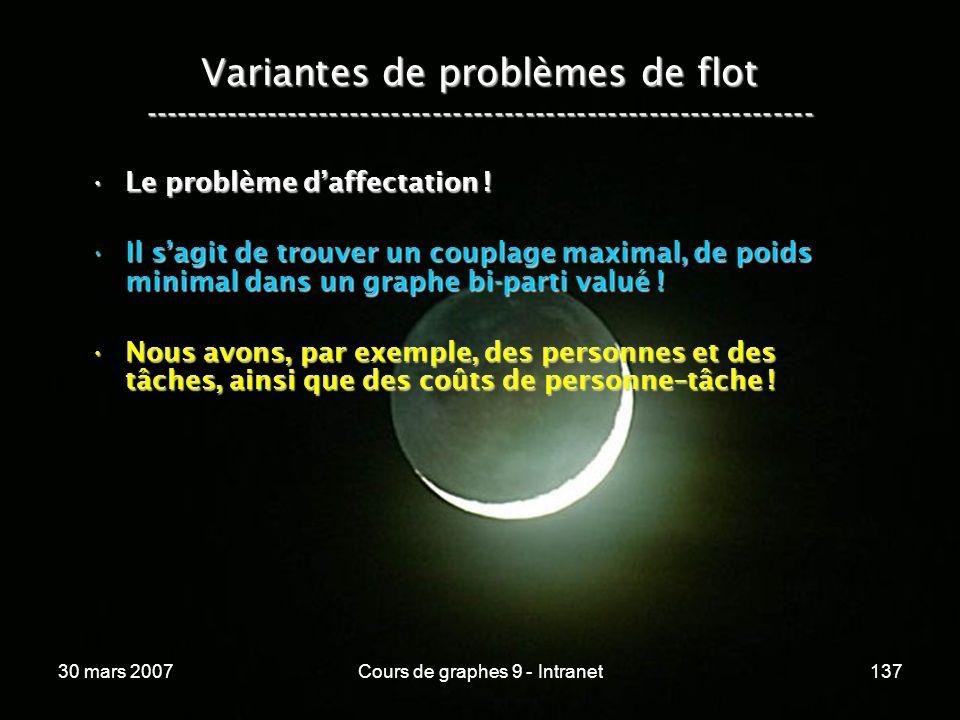 30 mars 2007Cours de graphes 9 - Intranet137 Variantes de problèmes de flot ----------------------------------------------------------------- Le probl