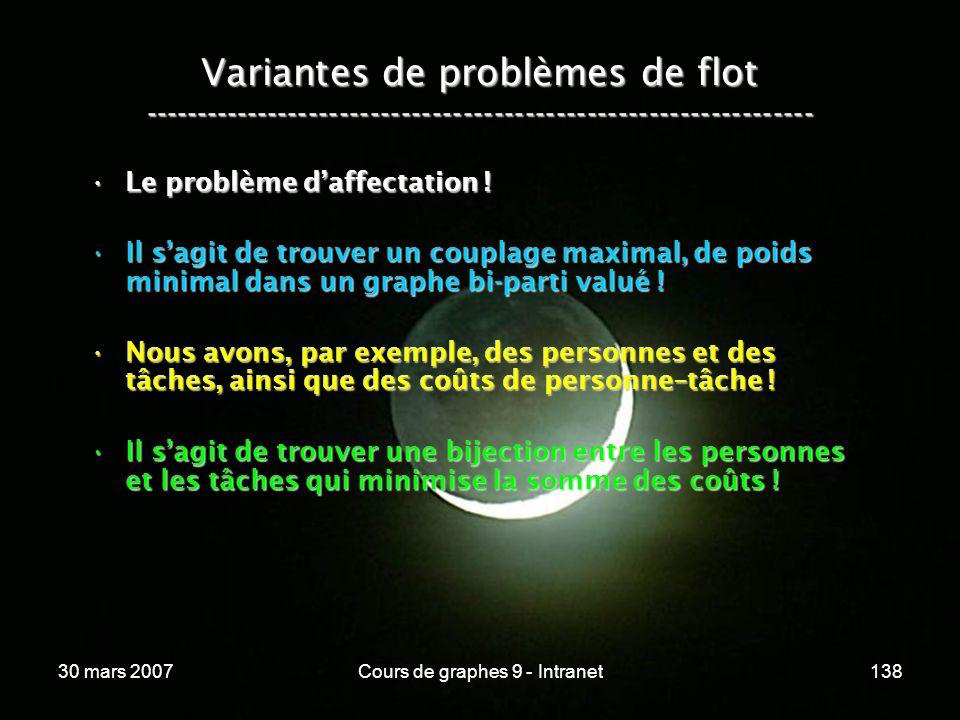 30 mars 2007Cours de graphes 9 - Intranet138 Variantes de problèmes de flot ----------------------------------------------------------------- Le probl