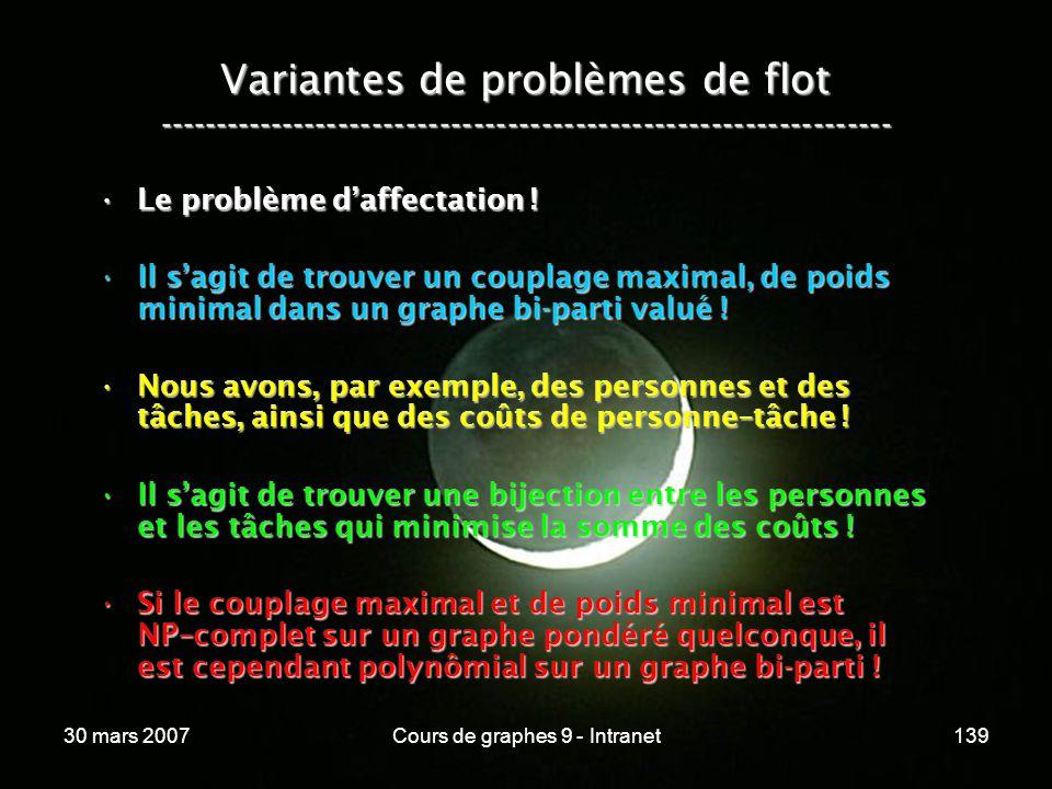 30 mars 2007Cours de graphes 9 - Intranet139 Variantes de problèmes de flot ----------------------------------------------------------------- Le probl
