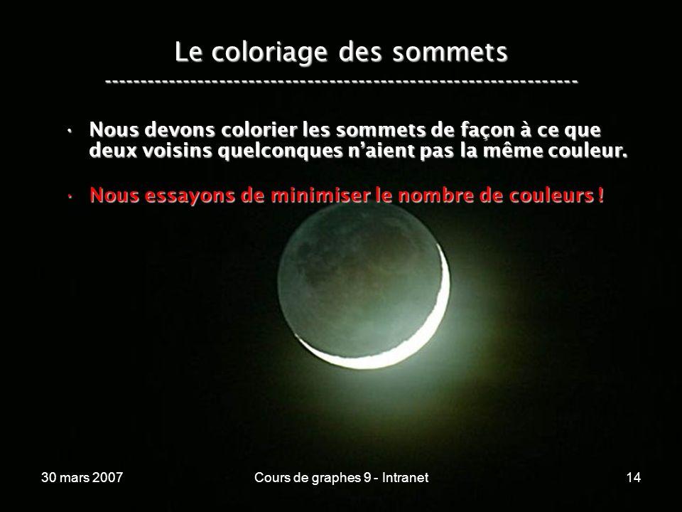 30 mars 2007Cours de graphes 9 - Intranet14 Le coloriage des sommets ----------------------------------------------------------------- Nous devons col