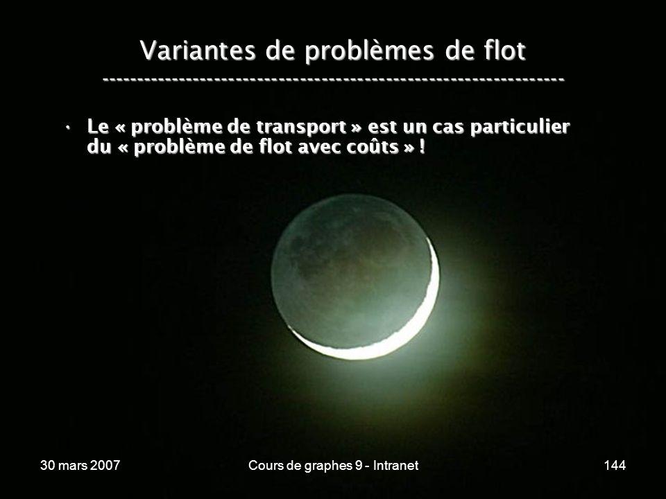 30 mars 2007Cours de graphes 9 - Intranet144 Variantes de problèmes de flot ----------------------------------------------------------------- Le « pro