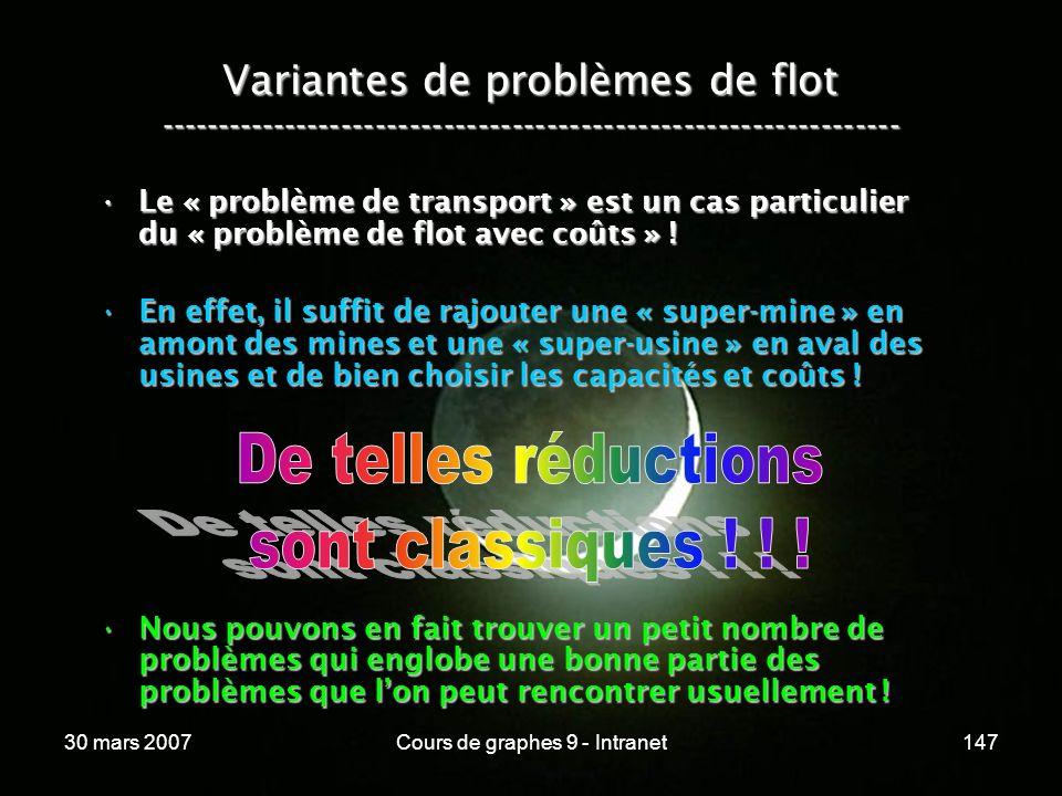 30 mars 2007Cours de graphes 9 - Intranet147 Variantes de problèmes de flot ----------------------------------------------------------------- Le « pro