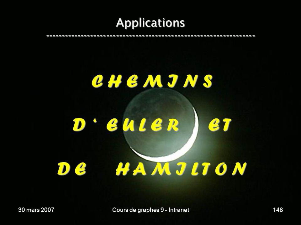 30 mars 2007Cours de graphes 9 - Intranet148 Applications ----------------------------------------------------------------- C H E M I N S D E U L E R