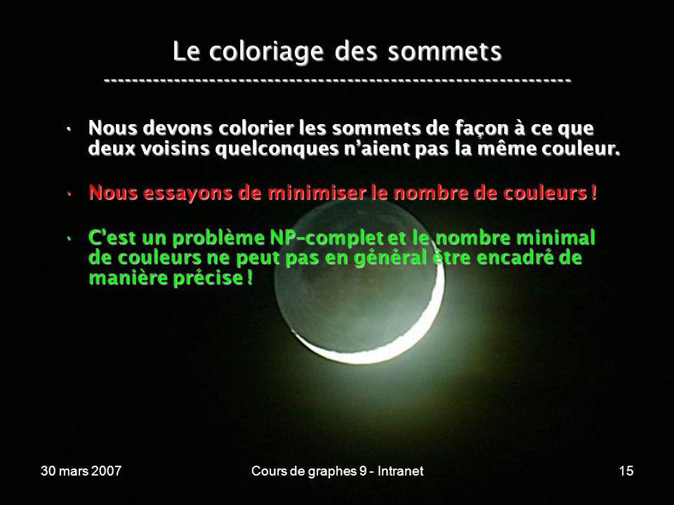 30 mars 2007Cours de graphes 9 - Intranet15 Le coloriage des sommets ----------------------------------------------------------------- Nous devons col