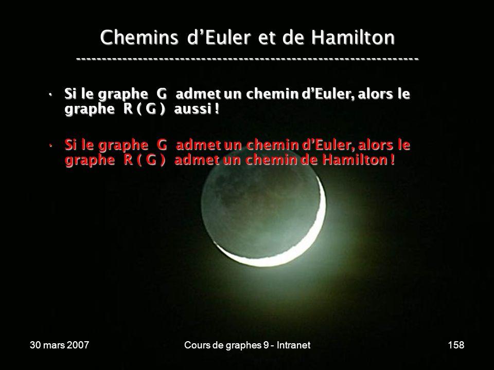 30 mars 2007Cours de graphes 9 - Intranet158 Si le graphe G admet un chemin dEuler, alors le graphe R ( G ) aussi !Si le graphe G admet un chemin dEul