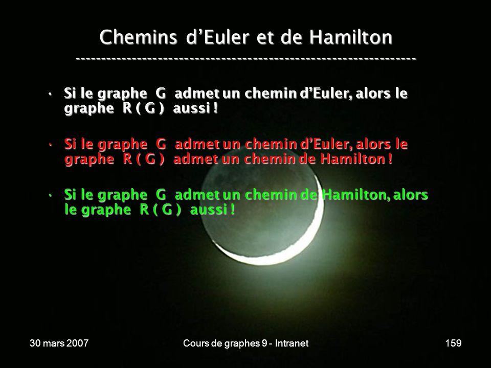 30 mars 2007Cours de graphes 9 - Intranet159 Si le graphe G admet un chemin dEuler, alors le graphe R ( G ) aussi !Si le graphe G admet un chemin dEul