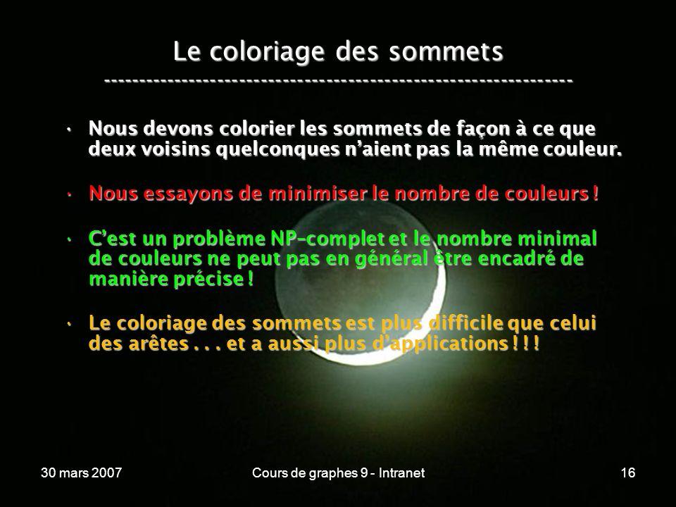 30 mars 2007Cours de graphes 9 - Intranet16 Le coloriage des sommets ----------------------------------------------------------------- Nous devons col