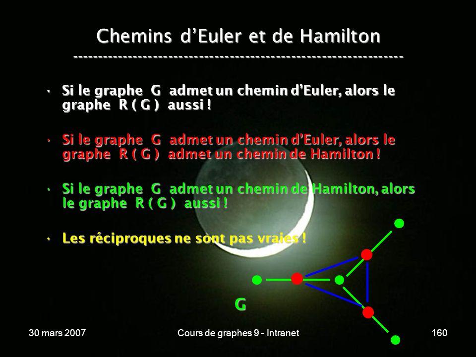 30 mars 2007Cours de graphes 9 - Intranet160 Si le graphe G admet un chemin dEuler, alors le graphe R ( G ) aussi !Si le graphe G admet un chemin dEul