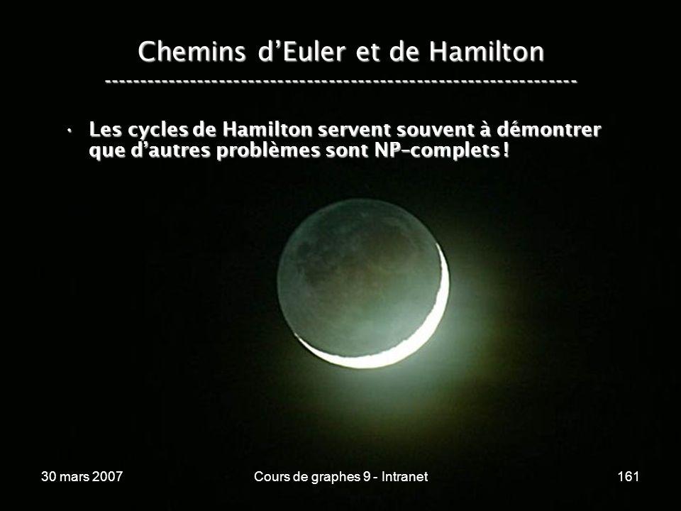 30 mars 2007Cours de graphes 9 - Intranet161 Les cycles de Hamilton servent souvent à démontrer que dautres problèmes sont NP–complets !Les cycles de