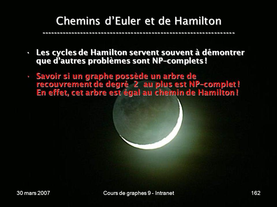 30 mars 2007Cours de graphes 9 - Intranet162 Les cycles de Hamilton servent souvent à démontrer que dautres problèmes sont NP–complets !Les cycles de