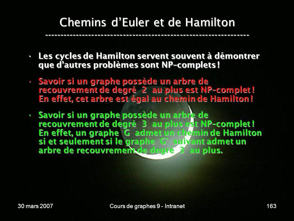 30 mars 2007Cours de graphes 9 - Intranet163 Les cycles de Hamilton servent souvent à démontrer que dautres problèmes sont NP–complets !Les cycles de