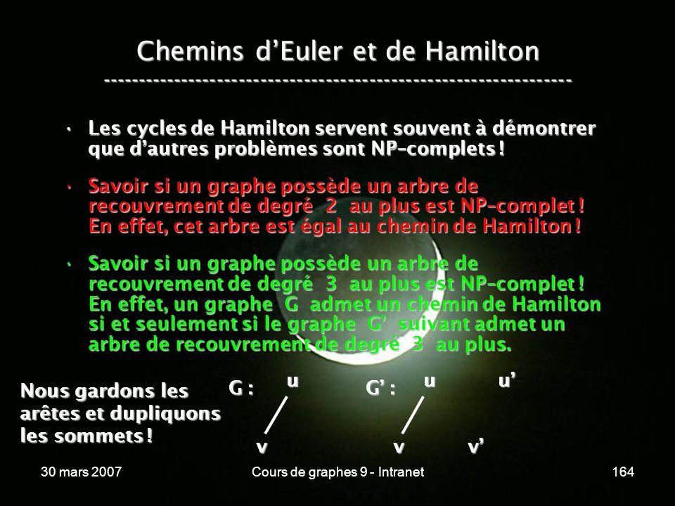 30 mars 2007Cours de graphes 9 - Intranet164 Les cycles de Hamilton servent souvent à démontrer que dautres problèmes sont NP–complets !Les cycles de