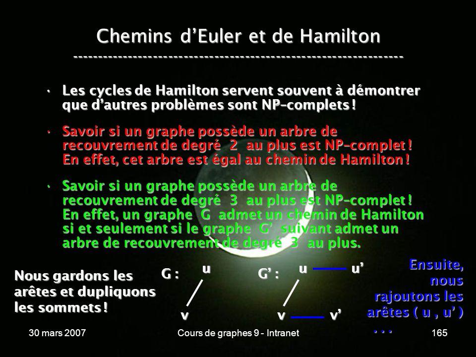 30 mars 2007Cours de graphes 9 - Intranet165 Les cycles de Hamilton servent souvent à démontrer que dautres problèmes sont NP–complets !Les cycles de