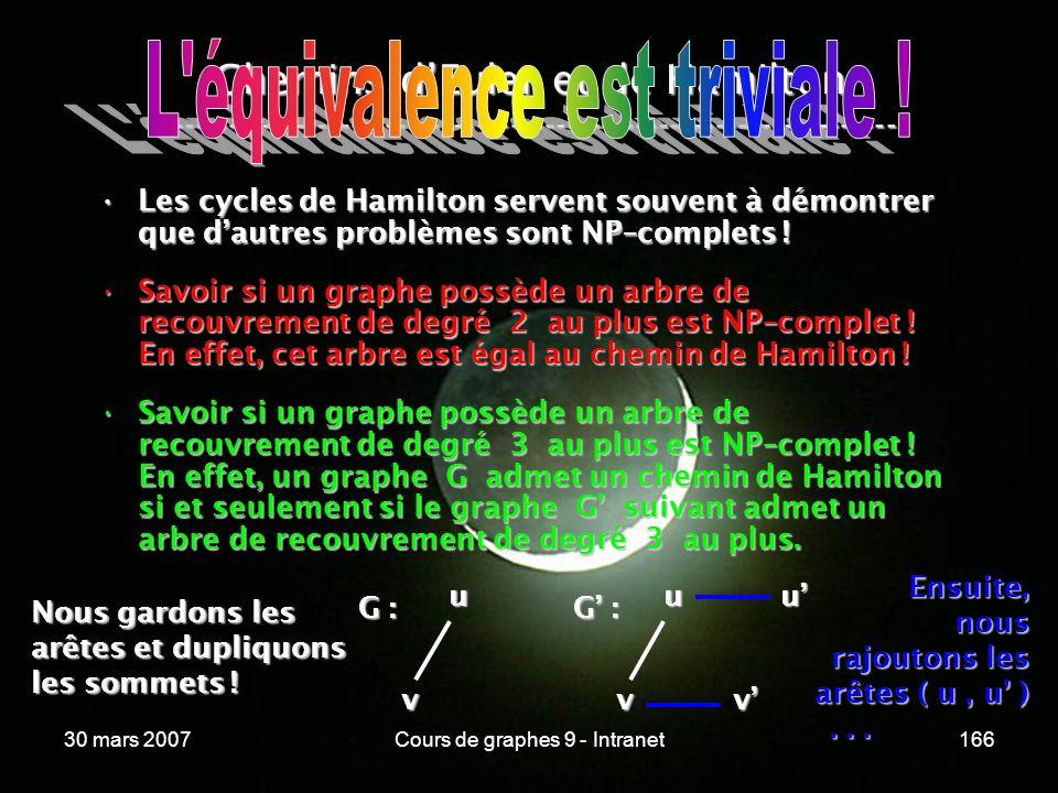 30 mars 2007Cours de graphes 9 - Intranet166 Chemins dEuler et de Hamilton ----------------------------------------------------------------- Les cycle