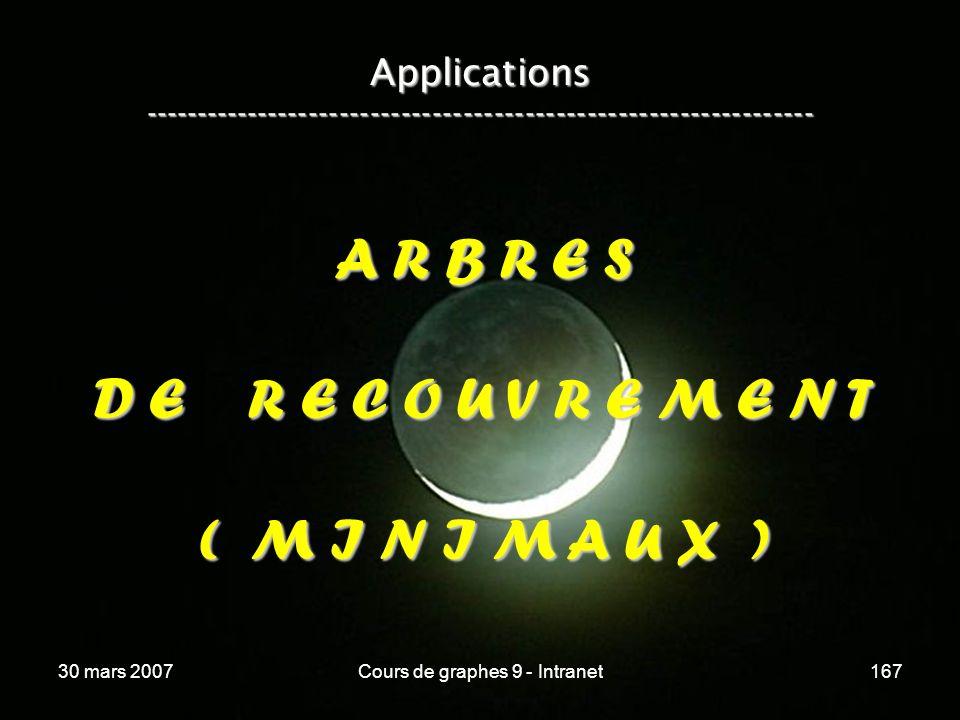 30 mars 2007Cours de graphes 9 - Intranet167 Applications ----------------------------------------------------------------- A R B R E S D E R E C O U