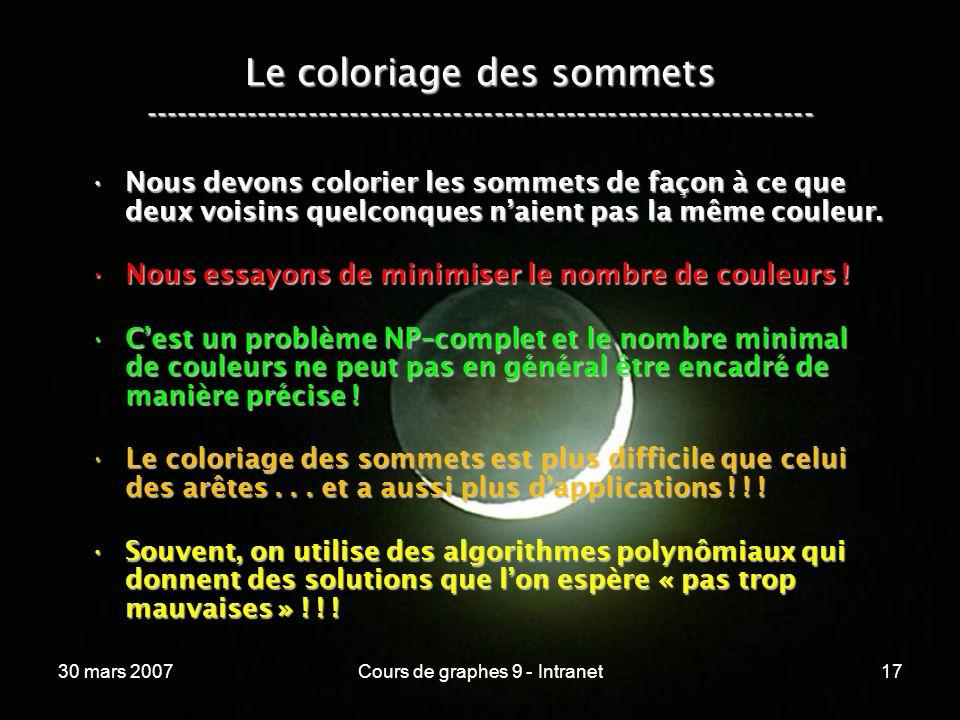 30 mars 2007Cours de graphes 9 - Intranet17 Le coloriage des sommets ----------------------------------------------------------------- Nous devons col