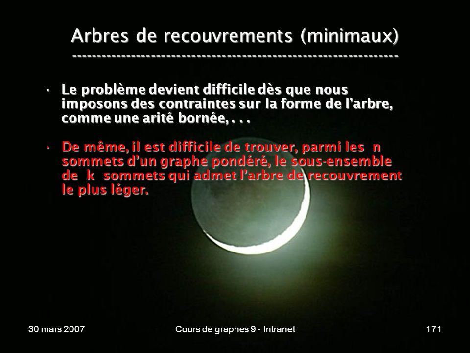 30 mars 2007Cours de graphes 9 - Intranet171 Arbres de recouvrements (minimaux) ----------------------------------------------------------------- Le p