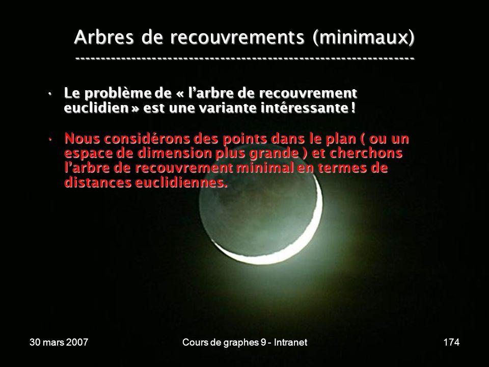 30 mars 2007Cours de graphes 9 - Intranet174 Arbres de recouvrements (minimaux) ----------------------------------------------------------------- Le p