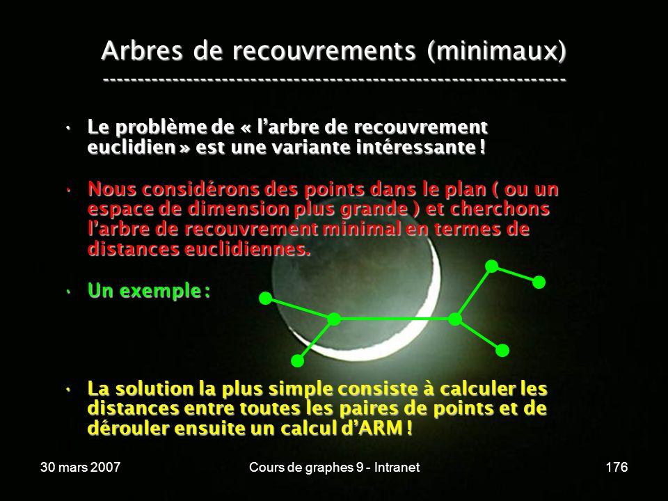 30 mars 2007Cours de graphes 9 - Intranet176 Arbres de recouvrements (minimaux) ----------------------------------------------------------------- Le p