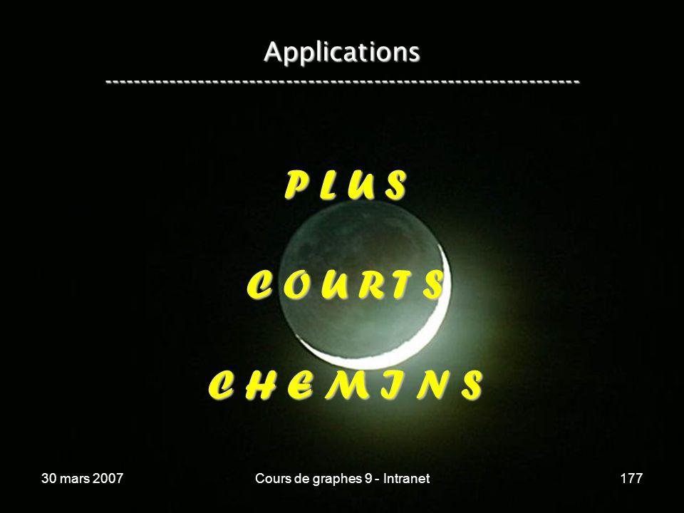 30 mars 2007Cours de graphes 9 - Intranet177 Applications ----------------------------------------------------------------- P L U S C O U R T S C H E