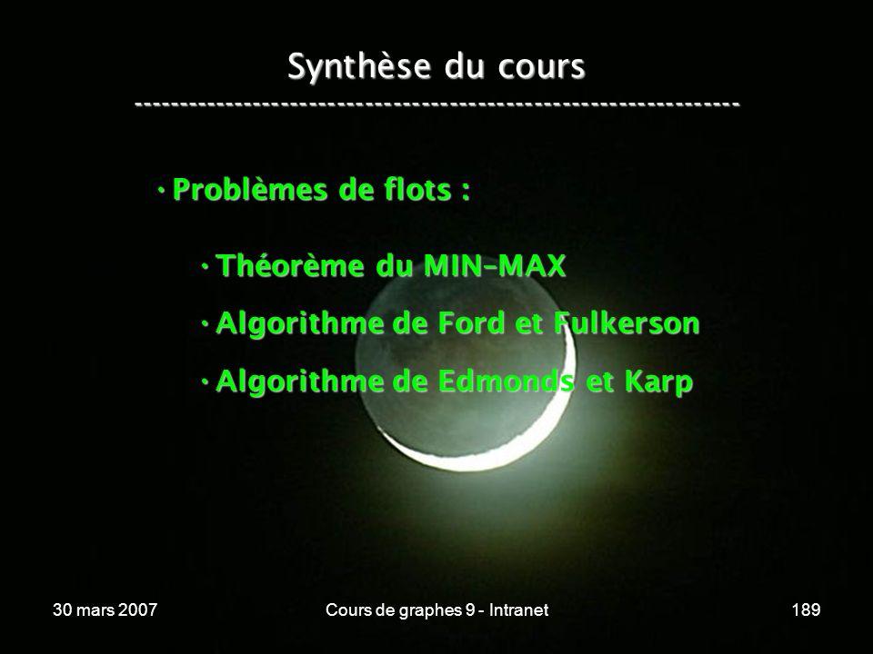 30 mars 2007Cours de graphes 9 - Intranet189 Synthèse du cours ----------------------------------------------------------------- Problèmes de flots :