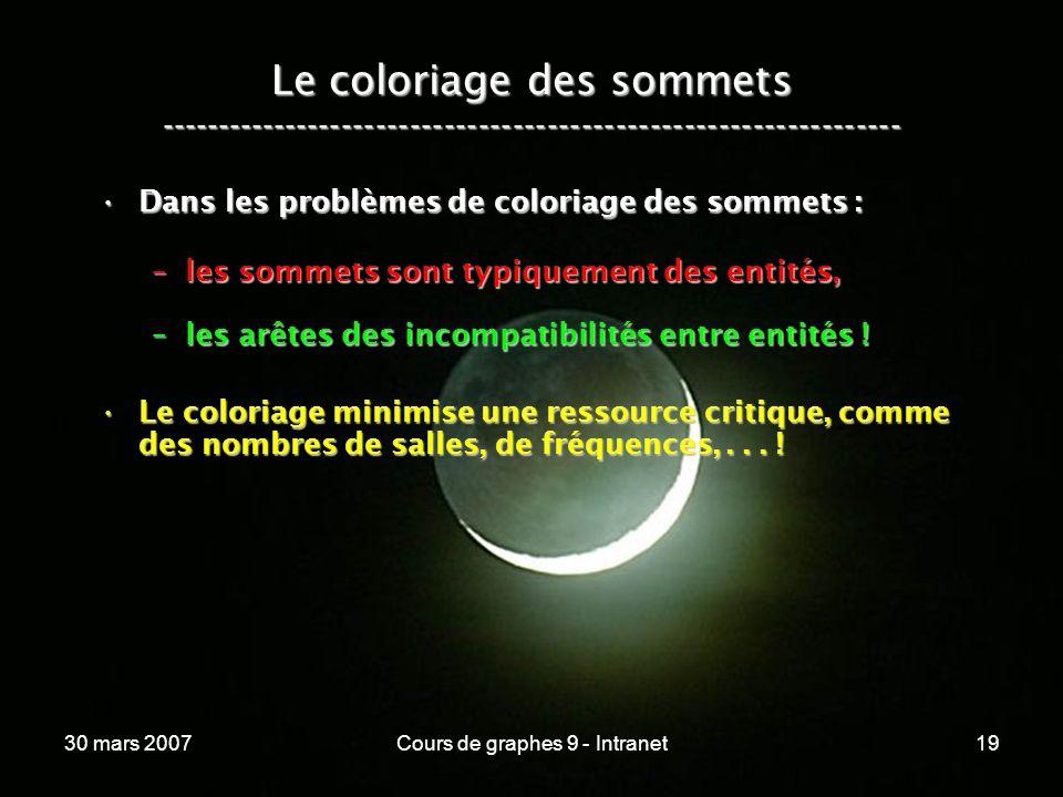 30 mars 2007Cours de graphes 9 - Intranet19 Le coloriage des sommets ----------------------------------------------------------------- Dans les problè
