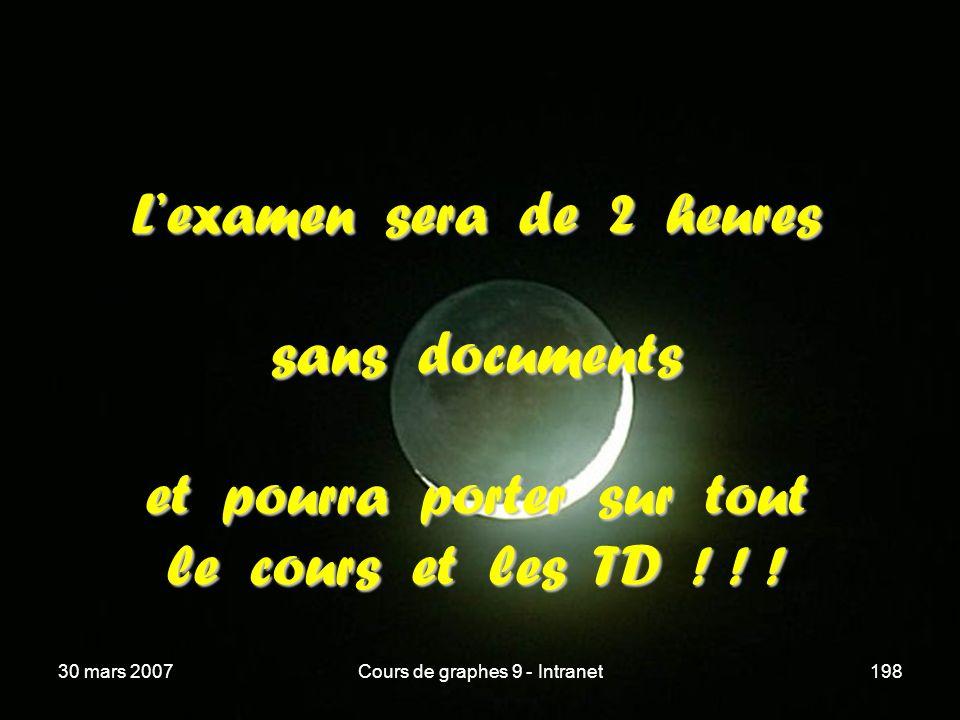 30 mars 2007Cours de graphes 9 - Intranet198 Lexamen sera de 2 heures sans documents et pourra porter sur tout le cours et les TD ! ! !