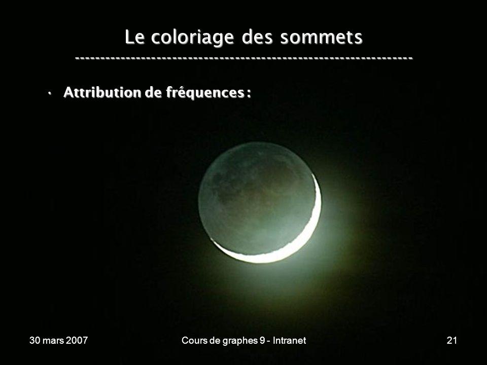 30 mars 2007Cours de graphes 9 - Intranet21 Le coloriage des sommets ----------------------------------------------------------------- Attribution de
