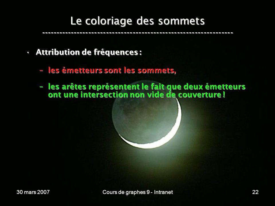 30 mars 2007Cours de graphes 9 - Intranet22 Le coloriage des sommets ----------------------------------------------------------------- Attribution de