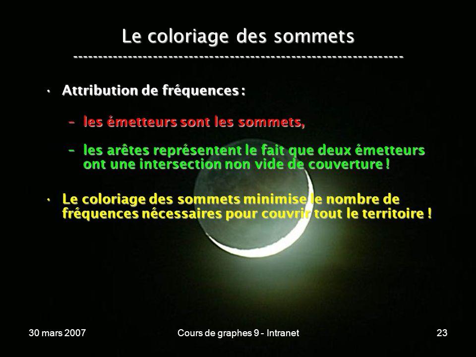 30 mars 2007Cours de graphes 9 - Intranet23 Le coloriage des sommets ----------------------------------------------------------------- Attribution de