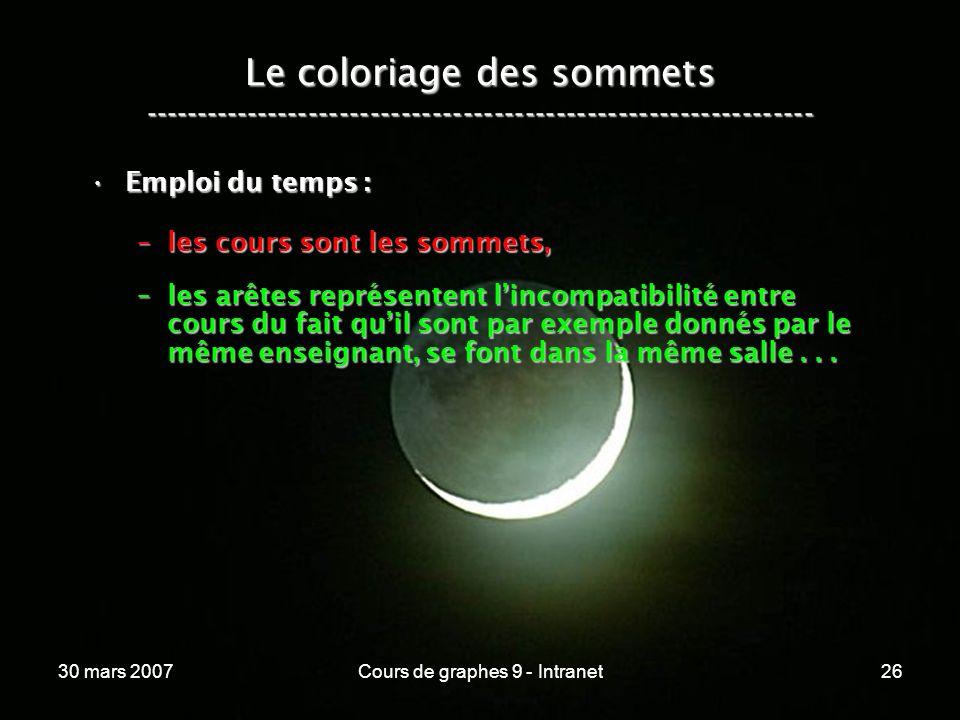 30 mars 2007Cours de graphes 9 - Intranet26 Le coloriage des sommets ----------------------------------------------------------------- Emploi du temps