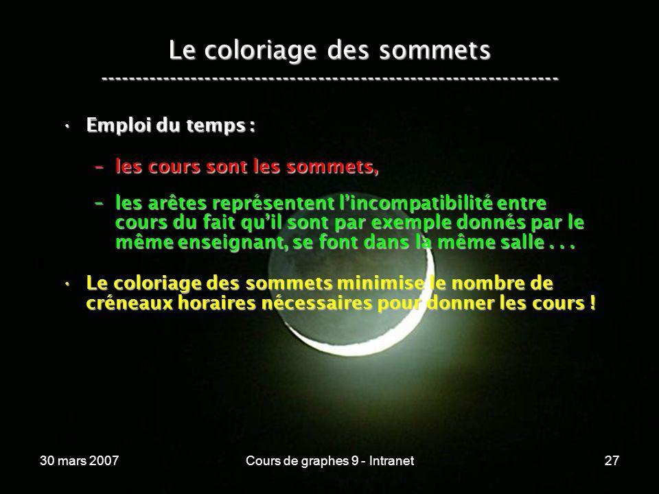 30 mars 2007Cours de graphes 9 - Intranet27 Le coloriage des sommets ----------------------------------------------------------------- Emploi du temps