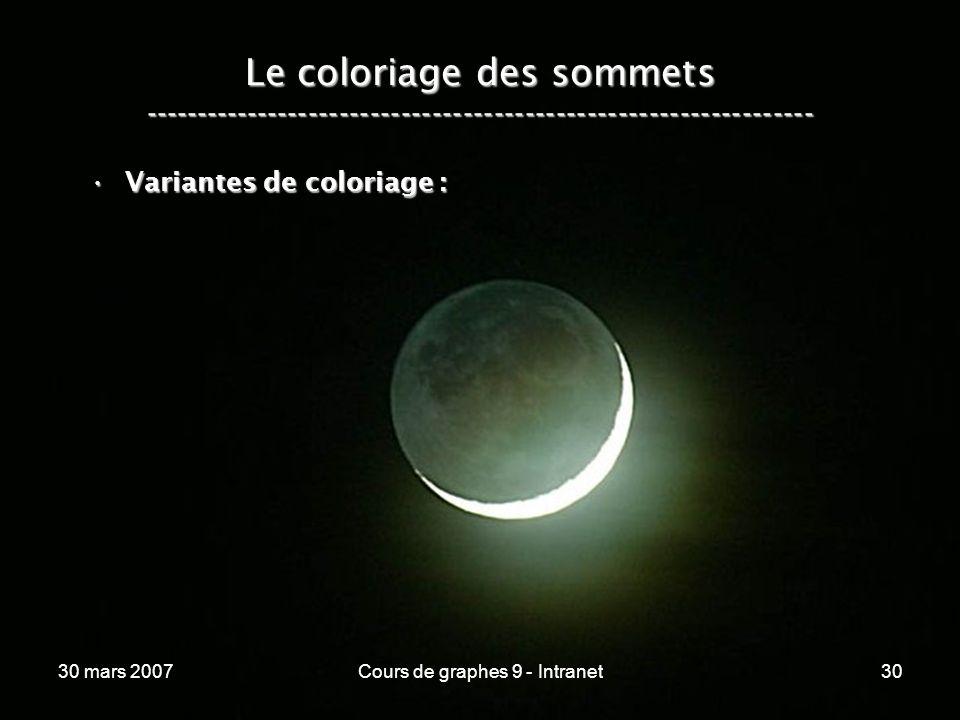30 mars 2007Cours de graphes 9 - Intranet30 Le coloriage des sommets ----------------------------------------------------------------- Variantes de co