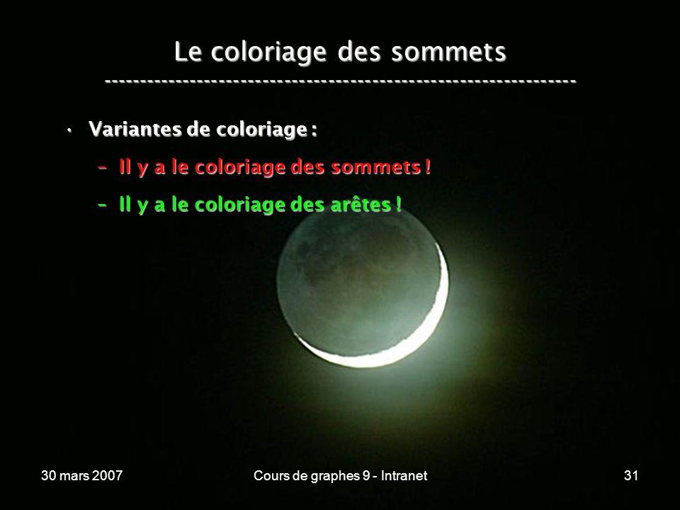 30 mars 2007Cours de graphes 9 - Intranet31 Le coloriage des sommets ----------------------------------------------------------------- Variantes de co