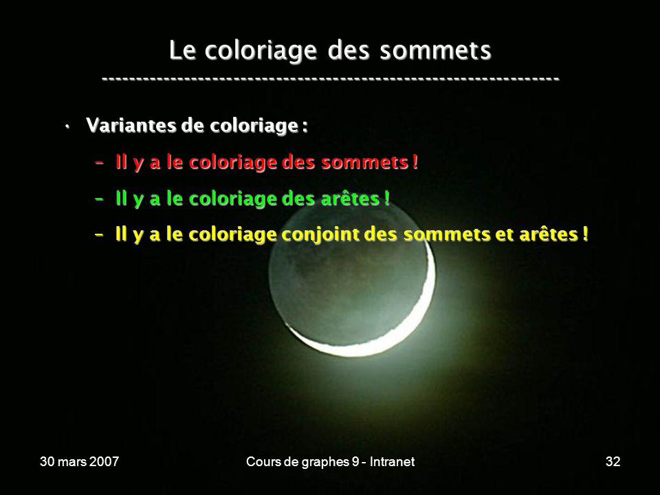 30 mars 2007Cours de graphes 9 - Intranet32 Le coloriage des sommets ----------------------------------------------------------------- Variantes de co
