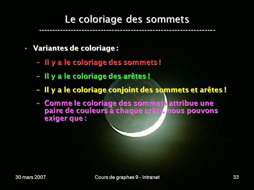 30 mars 2007Cours de graphes 9 - Intranet33 Le coloriage des sommets ----------------------------------------------------------------- Variantes de co