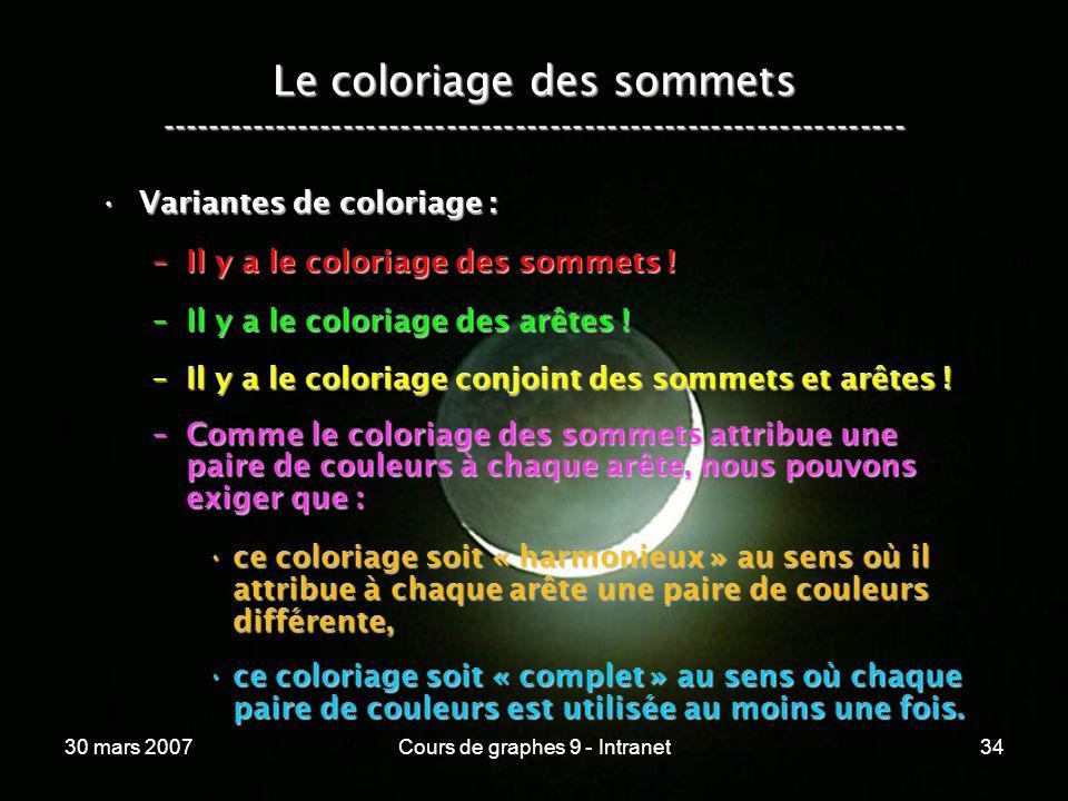30 mars 2007Cours de graphes 9 - Intranet34 Le coloriage des sommets ----------------------------------------------------------------- Variantes de co
