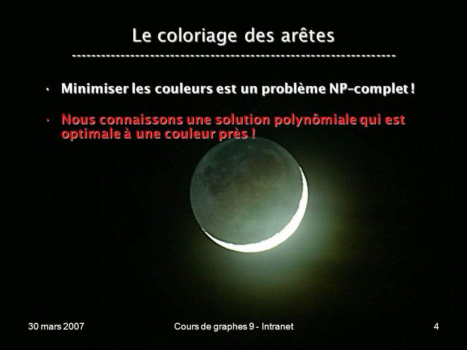 30 mars 2007Cours de graphes 9 - Intranet4 Le coloriage des arêtes ----------------------------------------------------------------- Minimiser les cou