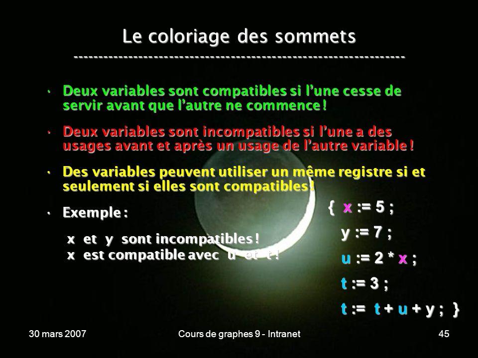 30 mars 2007Cours de graphes 9 - Intranet45 Le coloriage des sommets ----------------------------------------------------------------- Deux variables
