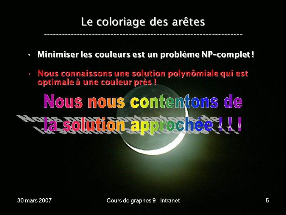 30 mars 2007Cours de graphes 9 - Intranet5 Le coloriage des arêtes ----------------------------------------------------------------- Minimiser les cou