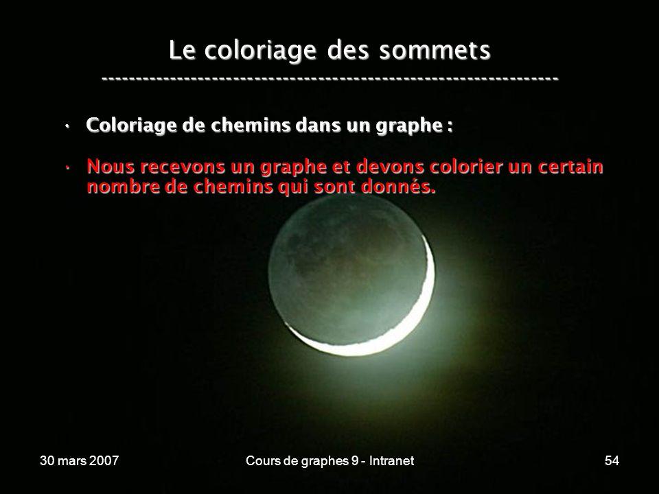 30 mars 2007Cours de graphes 9 - Intranet54 Le coloriage des sommets ----------------------------------------------------------------- Coloriage de ch