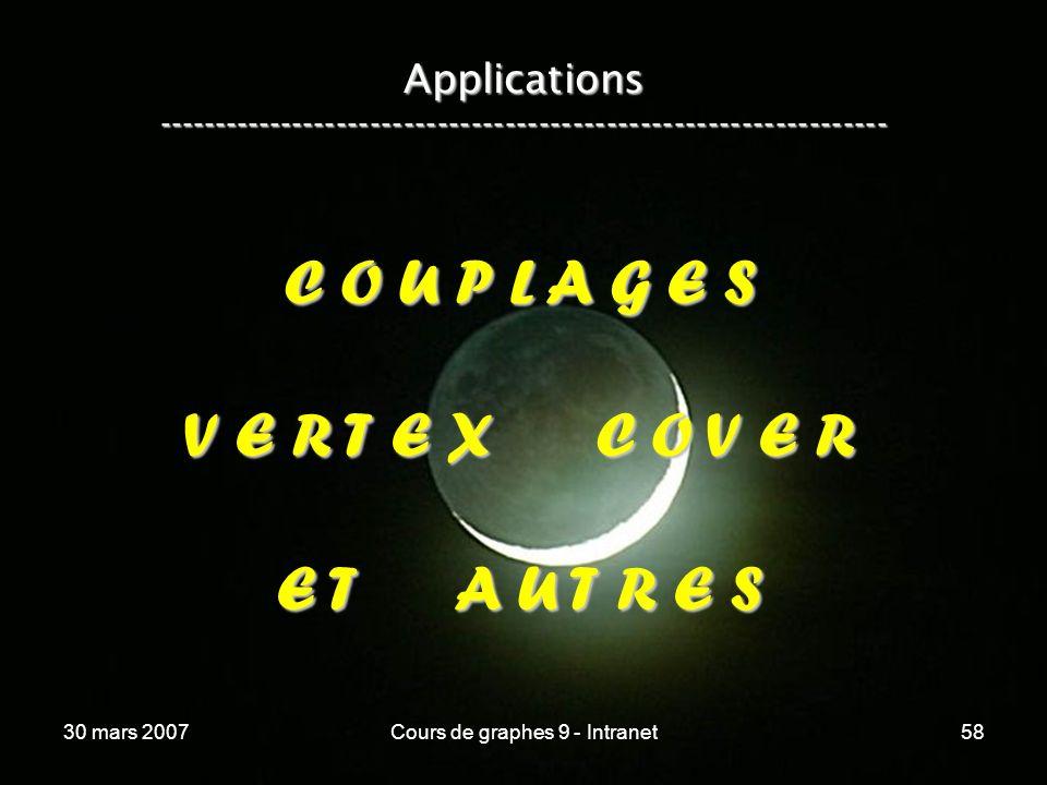 30 mars 2007Cours de graphes 9 - Intranet58 Applications ----------------------------------------------------------------- C O U P L A G E S V E R T E