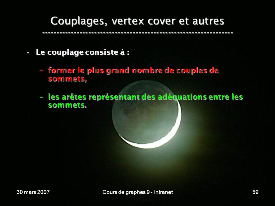 30 mars 2007Cours de graphes 9 - Intranet59 Couplages, vertex cover et autres ----------------------------------------------------------------- Le cou