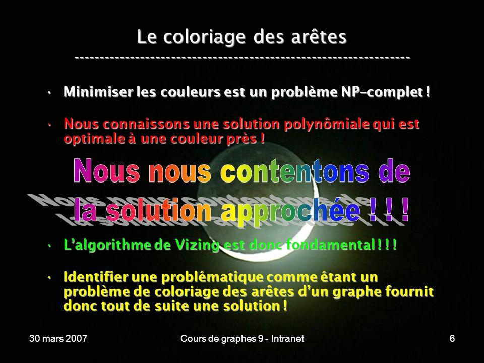 30 mars 2007Cours de graphes 9 - Intranet6 Le coloriage des arêtes ----------------------------------------------------------------- Minimiser les cou