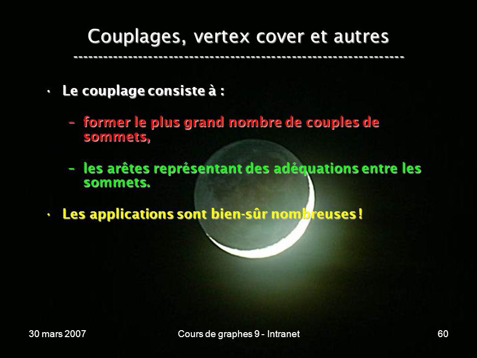 30 mars 2007Cours de graphes 9 - Intranet60 Couplages, vertex cover et autres ----------------------------------------------------------------- Le cou