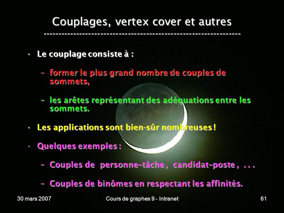 30 mars 2007Cours de graphes 9 - Intranet61 Couplages, vertex cover et autres ----------------------------------------------------------------- Le cou
