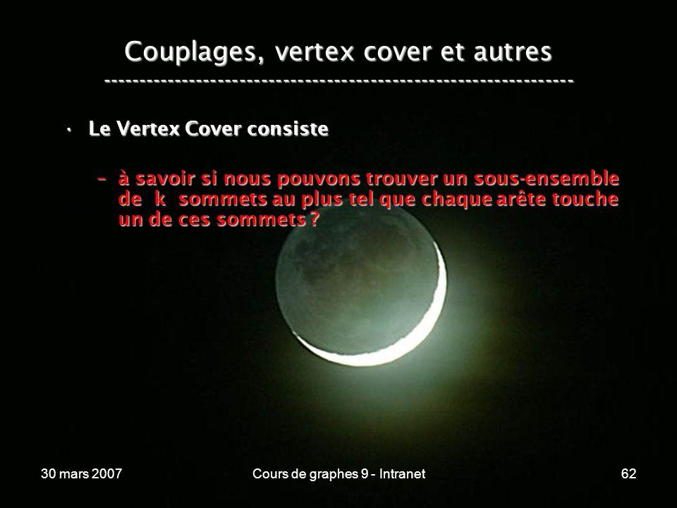 30 mars 2007Cours de graphes 9 - Intranet62 Couplages, vertex cover et autres ----------------------------------------------------------------- Le Ver